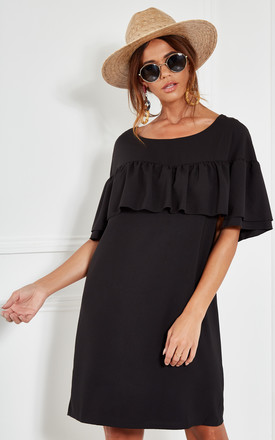 Black Woven Shift Dress With Ruffle At Yoke by The Vanity Room Product photo