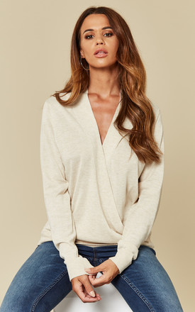 3b2bb76066 Natural Melange Long Sleeve Wrap Knit Top
