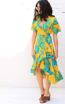 Leaf Print Wrap Over Midi Dress With Frill Skirt & Angel Sleeve In Yellow & Green by One Nation Clothing Product photo