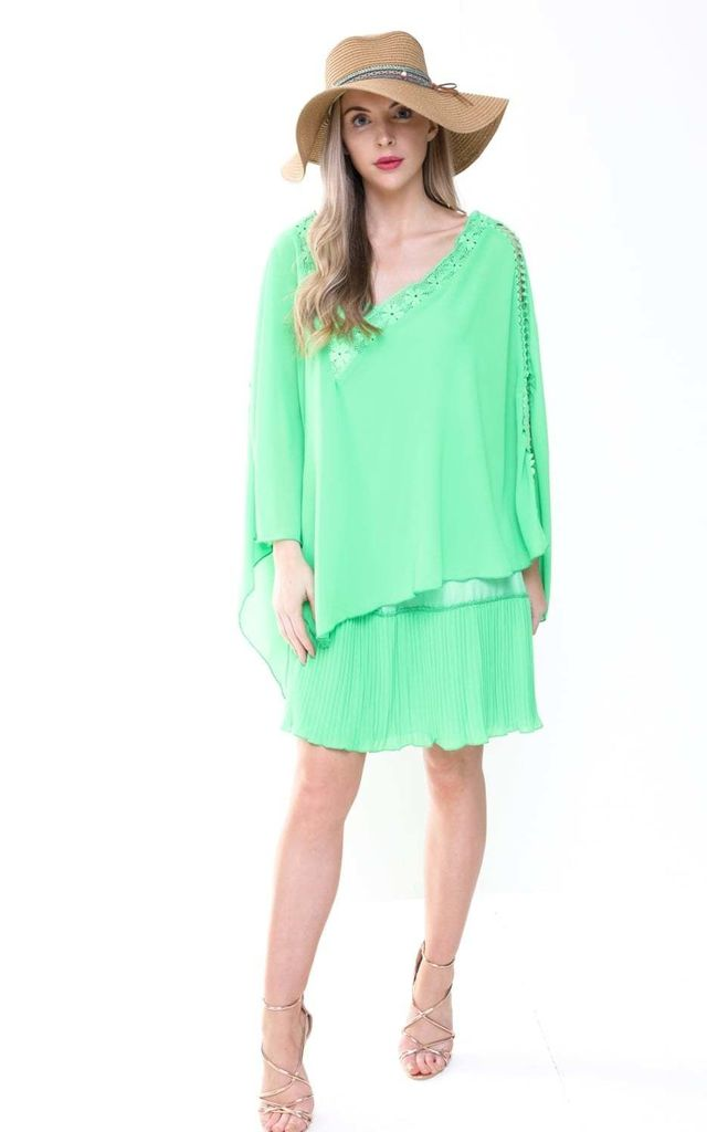 Green Oversized Crochet Layered Slit Kaftan with Cami Dress by Urban Mist