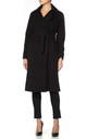 Diana Black Open Front Wrap Around Duster Coat by De La Creme Fashions