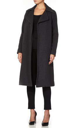 Diana Grey Open Front Wrap Around Duster Coat by De La Creme Fashions