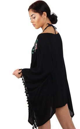 Black Floral Embroidery Belt Tassel Trim Kaftan Top by Urban Mist