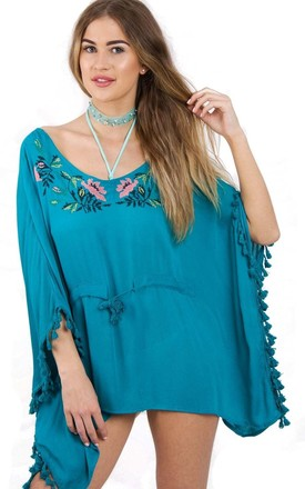 Turquoise Floral Embroidery Belt Tassel Trim Kaftan Top by Urban Mist