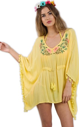 Yellow Floral Embroidery Belt Tassel Trim Kaftan Top by Urban Mist