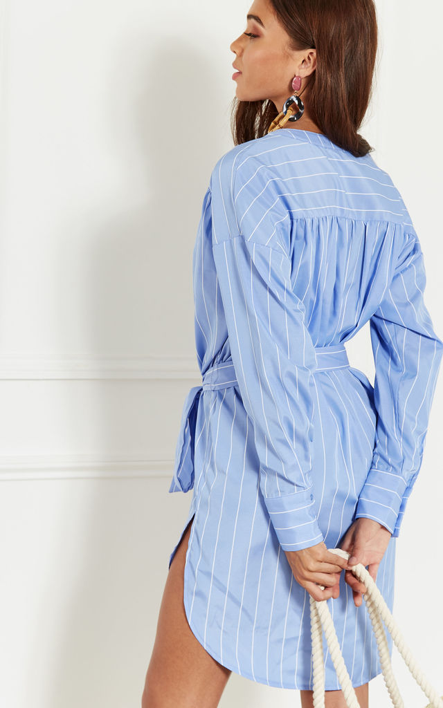 Blue Pinstripe Shirt Dress With Dip Hem by Bella and Blue