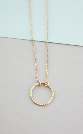 Textured Circle Necklace Gold by Fawn And Rose