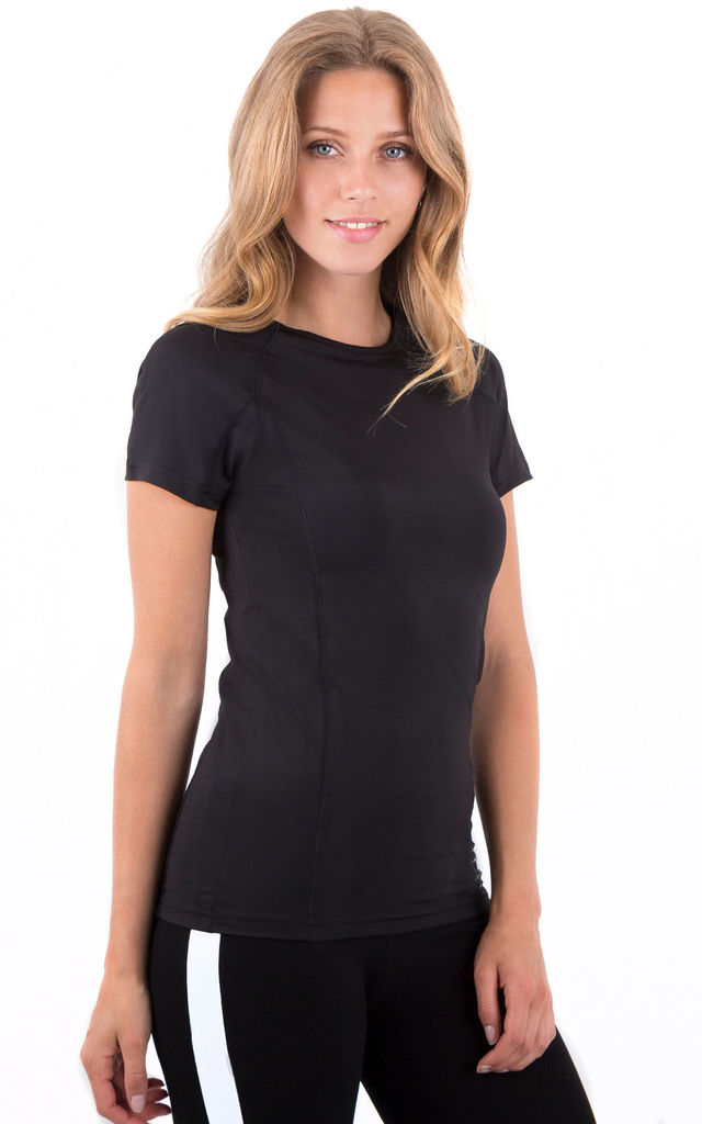 Black Fitness Short Sleeves Fitted  Sporty Stretch Top by MISSTRUTH