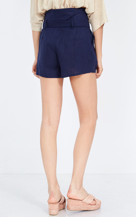 ELODIE – Navy Paperbag Waist Shorts by Blue Vanilla