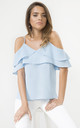 Blue Frill Cold Shoulder Cami Top by URBAN TOUCH