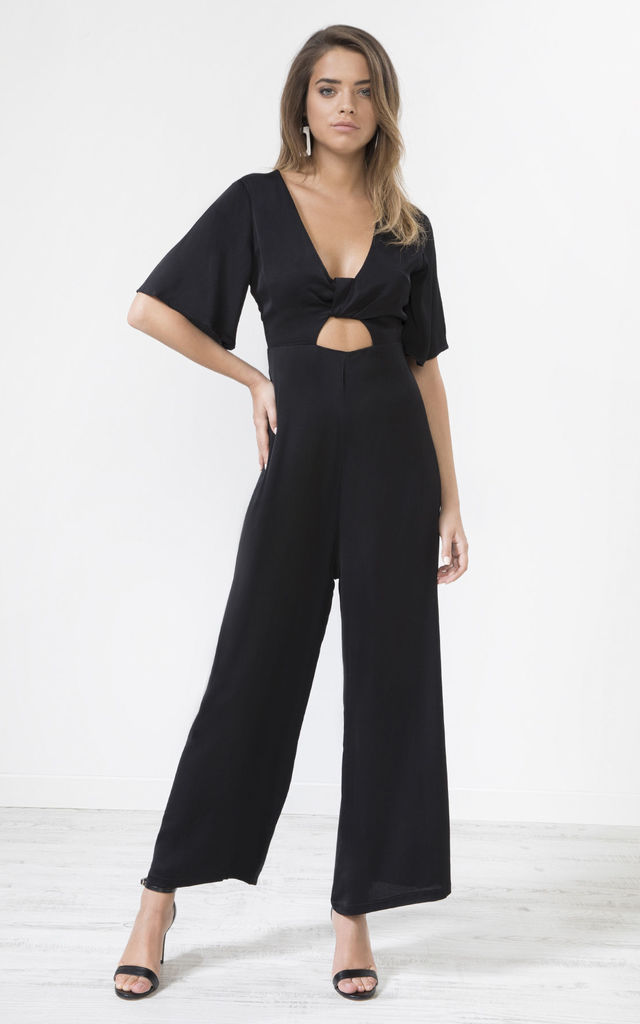 Black Satin Knot Front Jumpsuit by URBAN TOUCH