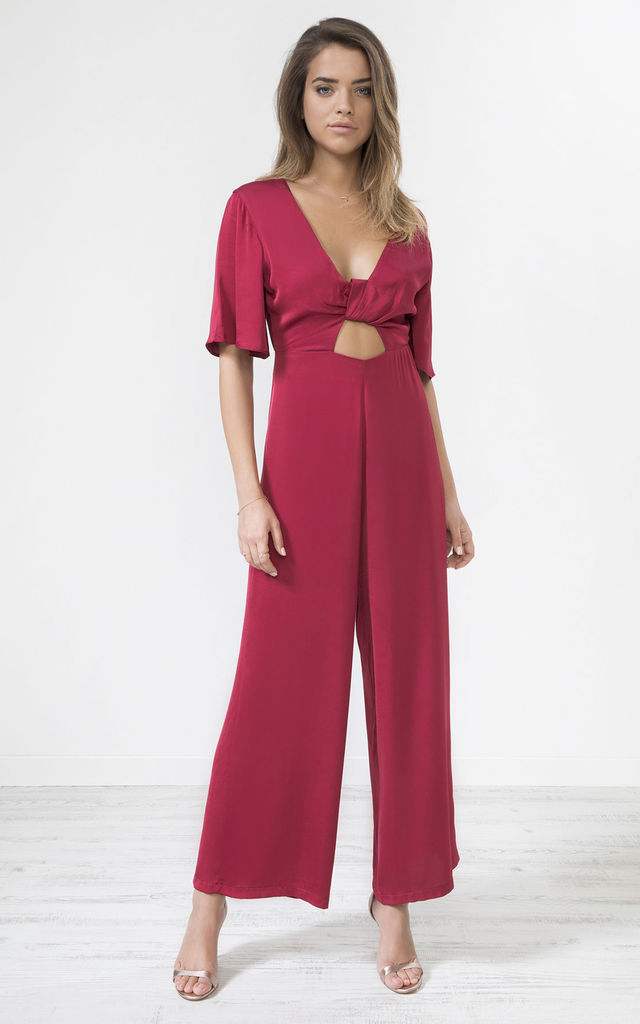 Red Satin Knot Front Jumpsuit Wine by URBAN TOUCH
