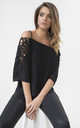 Black Lace Detail Cold Shoulder Top by URBAN TOUCH