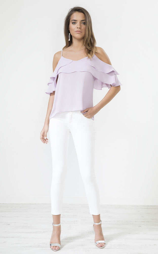 Lilac Frill Cold Shoulder Cami Top by URBAN TOUCH