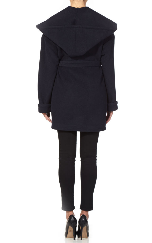Sarah Navy Shawl Hooded Coat by De La Creme Fashions