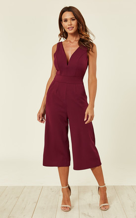 Plum Plunge Neck Culottes Jumpsuit by WalG