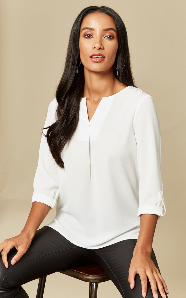 White 3/4 Length Top by VM