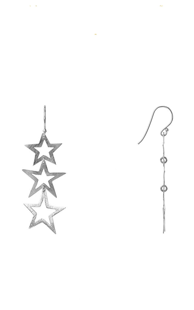 Triple Open Star Earring Silver by Latelita