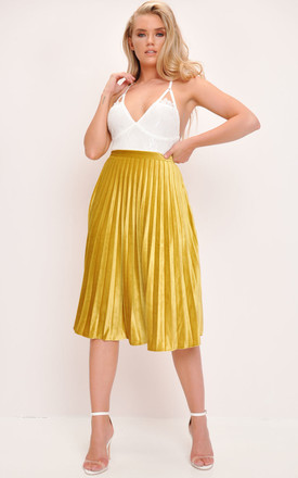Velvet Pleated Midi Skirt Mustard Yellow by LILY LULU FASHION