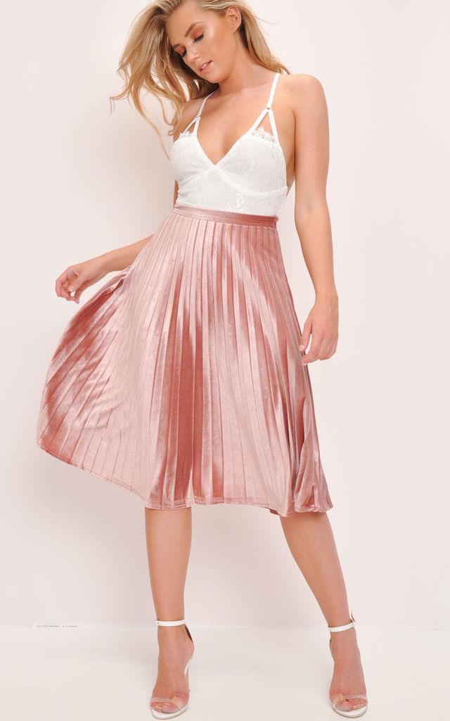 bdf55b30e Velvet Pleated Midi Skirt Blush Pink | LILY LULU FASHION | SilkFred
