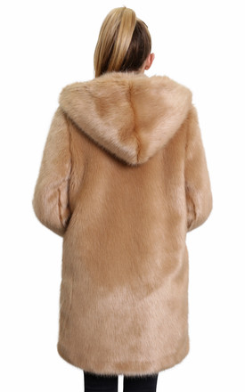 Felicia Luxury Camel Faux Fur Hooded Winter Coat by De La Creme Fashions