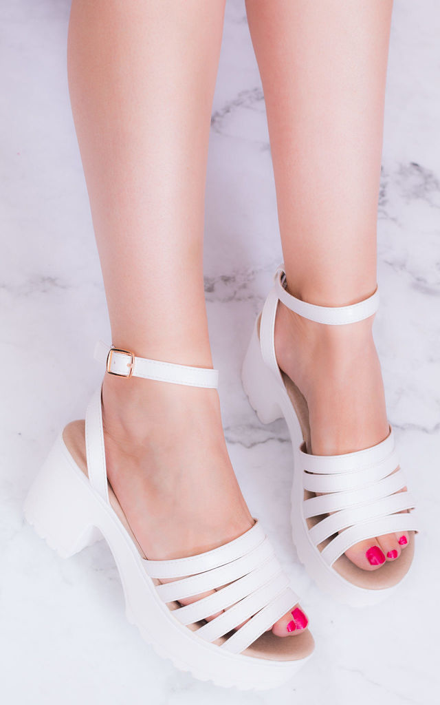 81809505a69 Ariannea Platform Block Heel Sandals Shoes White Leather Style