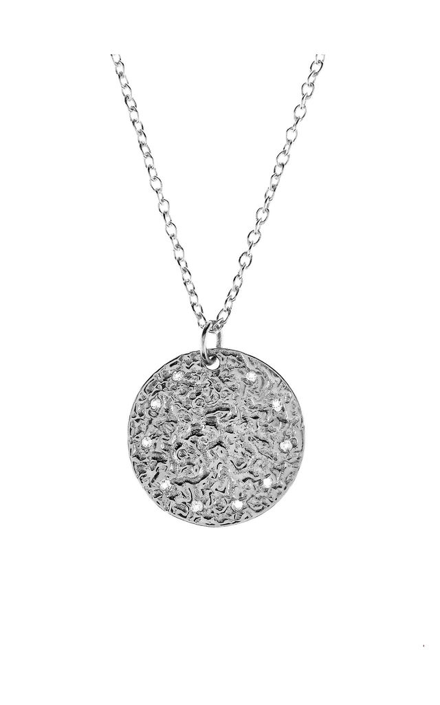 Silver Necklace with White Topaz Full Moon Pendant by Latelita London