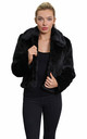 Becky Black Luxury Faux Fur Cropped Aviator Bomber by De La Creme Fashions