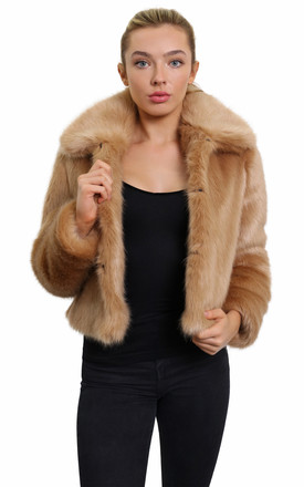 Becky Camel Faux Fur Cropped Bomber by De La Creme Fashions Product photo