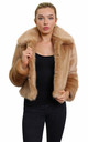 Becky Camel Luxury Faux Fur Cropped Aviator Bomber by De La Creme Fashions