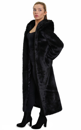 Natalia Black Faux Fur Hooded Long Coat by De La Creme Fashions Product photo
