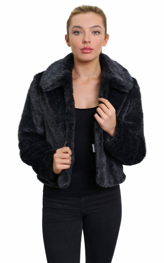 Becky Grey Luxury Faux Fur Cropped Aviator Bomber by De La Creme Fashions