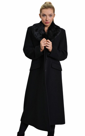 Cassandra Black Wool Blend Faux Fur Collar Long Coat by De La Creme Fashions Product photo