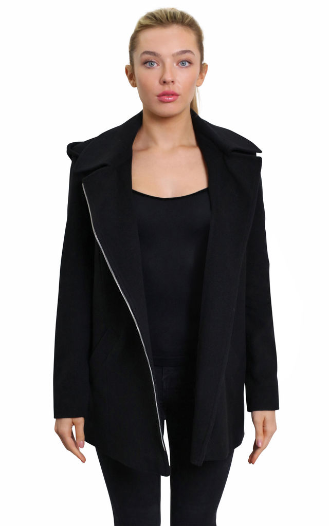 Sylvia Black Wool Blend Zip Up Hooded Coat by De La Creme Fashions