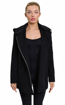 Sylvia Black Wool Blend Zip Up Hooded Coat by De La Creme Fashions Product photo