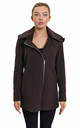 Sylvia Brown Wool Blend Zip Up Hooded Coat by De La Creme Fashions
