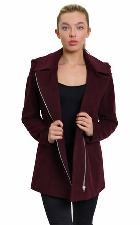 Sylvia Wine Wool Blend Zip Up Hooded Coat by De La Creme Fashions Product photo