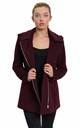 Sylvia Wine Wool Blend Zip Up Hooded Coat by De La Creme Fashions