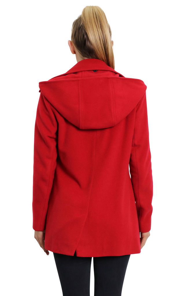 Sylvia Red Wool Blend Zip Up Hooded Coat by De La Creme Fashions