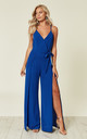 Split Leg Wrap Over Jumpsuit in Cobalt Blue by Oeuvre