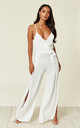 Split Leg Wrap Over Jumpsuit in White by Oeuvre