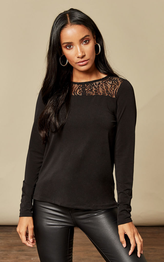 Black Long Sleeve Lace Top by VM