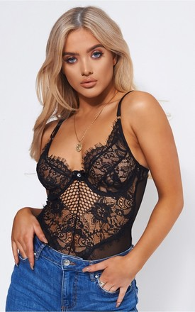 Anya Black Lace Bodysuit by The Fashion Bible
