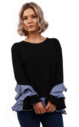 Black/Blue Knitted Jumper with Pin Stripe Ruffles Hem by Urban Mist