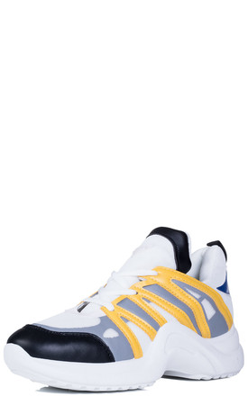 FLAMINCA Chunky Sole Sports Trainers - Yellow Leather Style by SpyLoveBuy