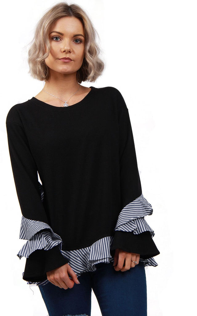 Black/White Knitted Jumper with Pin Stripe Ruffles Hem by Urban Mist