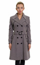 Amber Taupe Grey Double Breasted Trench Coat by De La Creme Fashions