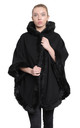 Caitlin Black Faux Fur Lined Hooded Cape by De La Creme Fashions