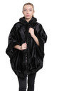 Caitlin Black Ponyskin Faux Fur Lined Hooded Cape by De La Creme Fashions