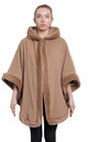 Caitlin Camel Faux Fur Lined Hooded Cape by De La Creme Fashions